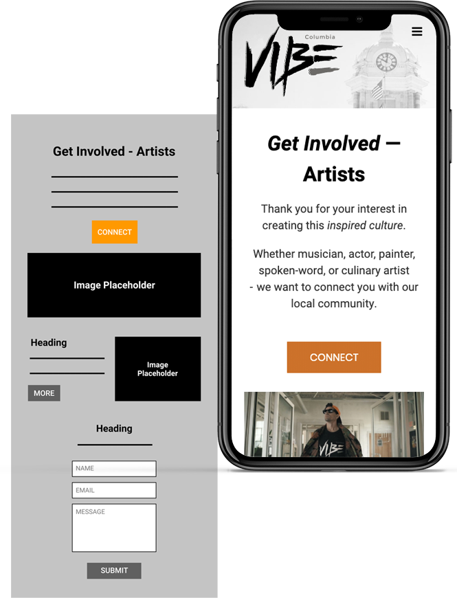 Vibe-Wireframe-Mobile Web UI/UX